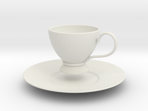 1/6 scale Tea Cup & saucer in White Natural Versatile Plastic