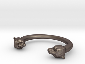 bracelet black panther in Polished Bronzed Silver Steel