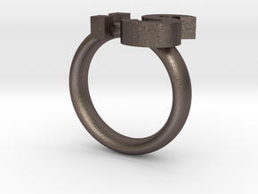 Confused Emoticon Ring :S in Polished Bronzed Silver Steel