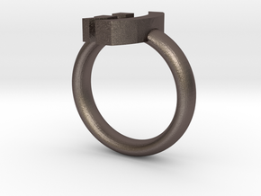 Wink Emoticon Ring Version 2 ;) in Polished Bronzed Silver Steel