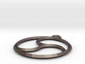 Trefoil Pendant in Polished Bronzed Silver Steel