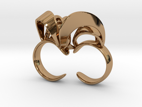 Ribbon Double Ring 6/7  in Polished Brass
