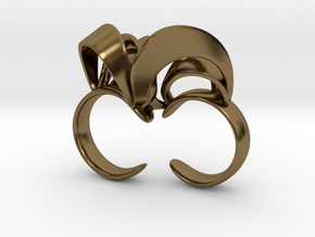 Ribbon Double Ring 6/7  in Polished Bronze