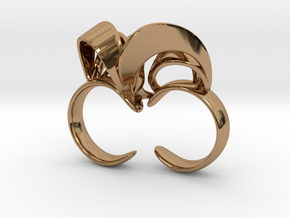 Ribbon Double Ring 7/8 in Polished Brass