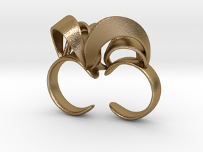 Ribbon Double Ring 6/7  in Polished Gold Steel