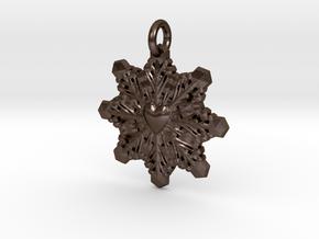 Heart Snowflake Keychain in Polished Bronze Steel