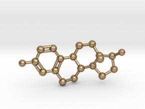 Estrogen (Estradiol) Molecule Pendant BIG in Polished Gold Steel