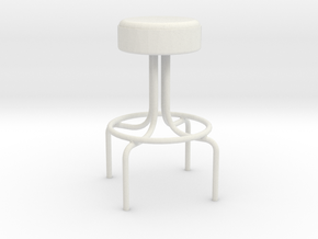 1:24 Metal Diner Stool in White Strong & Flexible
