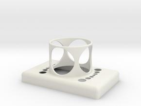 Stop Button Shroud LaspilC in White Natural Versatile Plastic
