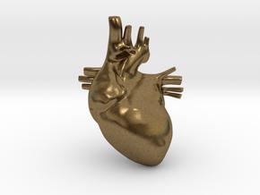 Anatomical Heart Hanger Pendant in Natural Bronze