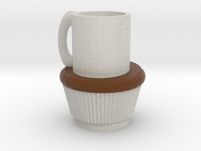 Fullsized Cupcake With Coffee cup in Full Color Sandstone