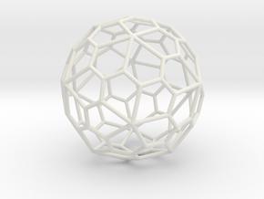 PentagonalHexecontahedron 70mm in White Natural Versatile Plastic
