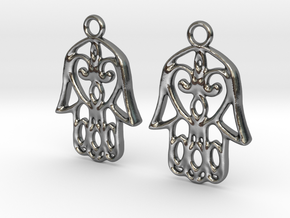 Hamsa Hand Earrings in Polished Silver