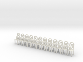 Cafe Chair 1  HO Scale X12 in White Natural Versatile Plastic