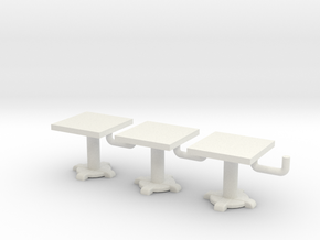 Square Tables HO Scale X3 in White Natural Versatile Plastic
