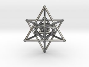 3 Merkabah Star Tetrahedrons Nested 50mm in Polished Silver