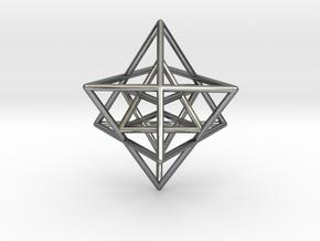 Sacred Geometry: Merkabah2 50mm 2 Nested Star Tetr in Polished Silver