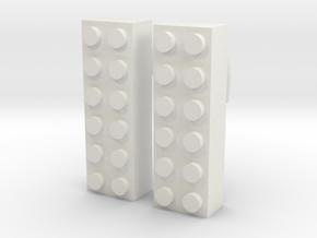 2x6 Brick Earring 0g in White Natural Versatile Plastic