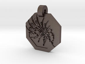Ninetails Pendant in Polished Bronzed Silver Steel