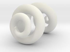 Ram horns half size in White Natural Versatile Plastic