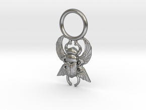 Scarab Pendant in Natural Silver