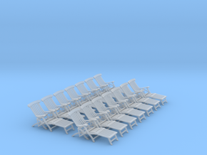 1:48 Titanic Deck Chair, Set of 12 in Smooth Fine Detail Plastic