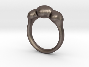 Push Ring - Size 6.25 in Polished Bronzed Silver Steel