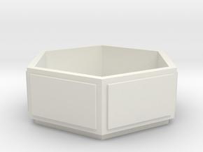 S1-221   Blumenkübel Beton 6eckig in White Natural Versatile Plastic
