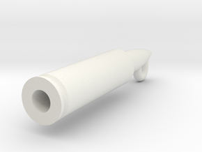 Rifle Bullet Pendant in White Natural Versatile Plastic