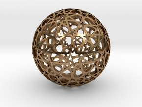 Islamic star ball with ten-pointed rosettes in Natural Brass