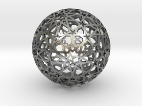 Islamic star ball with ten-pointed rosettes in Natural Silver