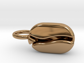 Coffee Bean pendant for coffee lovers. in Polished Brass