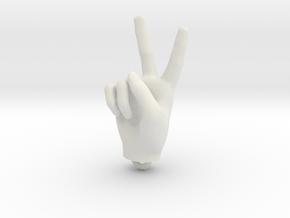 Hand pendant 30mm in White Natural Versatile Plastic
