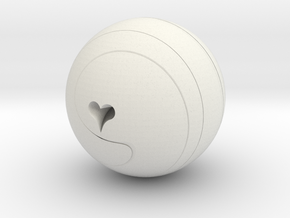 Helix Sphere with heart motif in White Natural Versatile Plastic