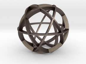 Icosidodecahedron (narrow) in Polished Bronzed Silver Steel