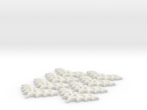 Bat Buttons #2 in White Natural Versatile Plastic