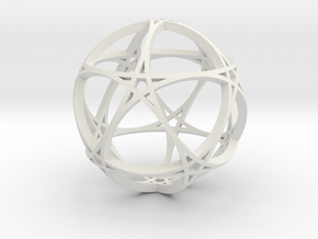 Pentagram Dodecahedron 1 (narrow, small) in White Strong & Flexible