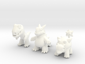 Miniature Dinos in White Strong & Flexible Polished