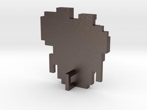 Link 8 Bit Charm in Polished Bronzed Silver Steel