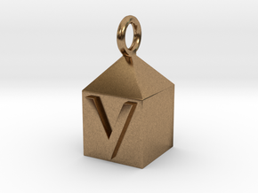 Keychain With Letter - V in Natural Brass