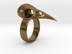 Realistic Raven Skull Ring - Size 11 in Natural Bronze