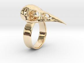 Realistic Raven Skull Ring - Size 11 in 14K Yellow Gold