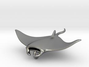Manta Pendant Head _ small in Natural Silver