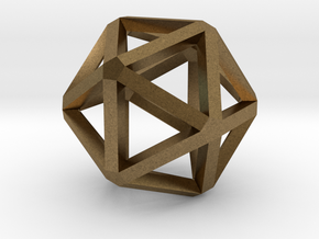 Icosahedron Thick Wireframe 25mm in Natural Bronze