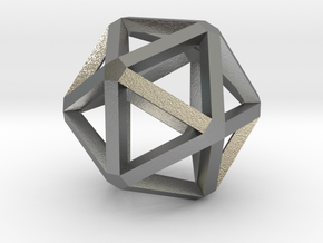 Icosahedron Thick Wireframe 25mm in Natural Silver