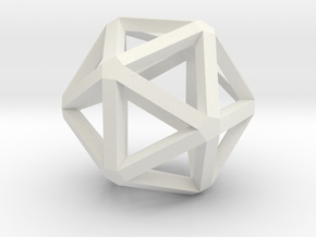 Icosahedron Thick Wireframe 25mm in White Natural Versatile Plastic