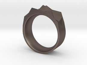 Triangulated Ring - 17.5mm in Polished Bronzed Silver Steel