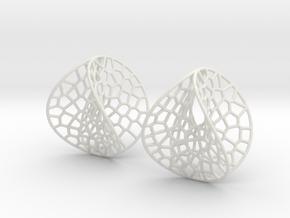 Enneper Voronoi Dream Earrings (3 sizes) in White Natural Versatile Plastic: Medium