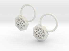 Star Earrings in White Natural Versatile Plastic