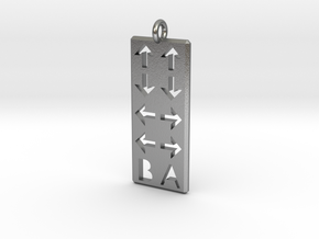 Konami Code Pendant - Straight in Natural Silver